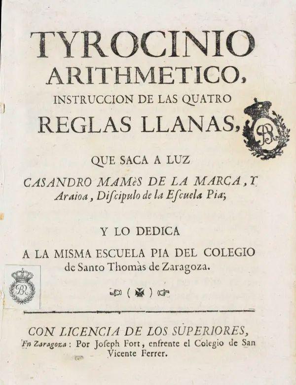 Libro El Tyrocinio arithmetico