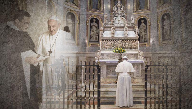 Francisco, en la tumba de Santo Domingo